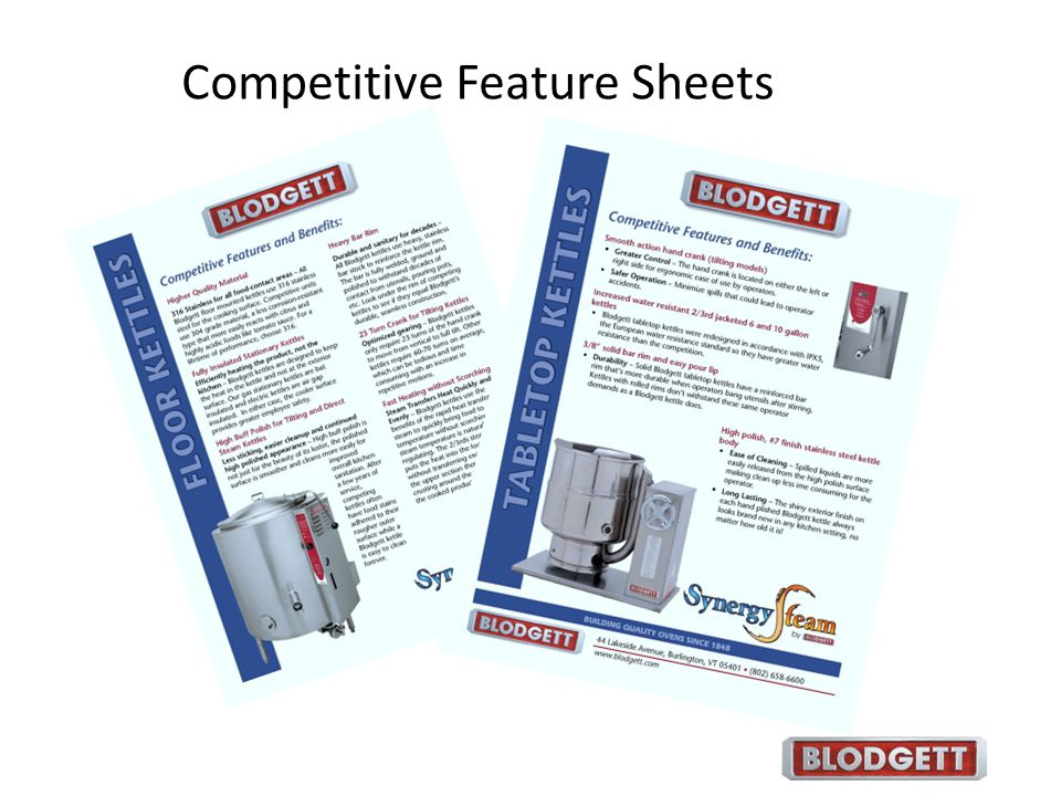 Competitive Feature Sheets