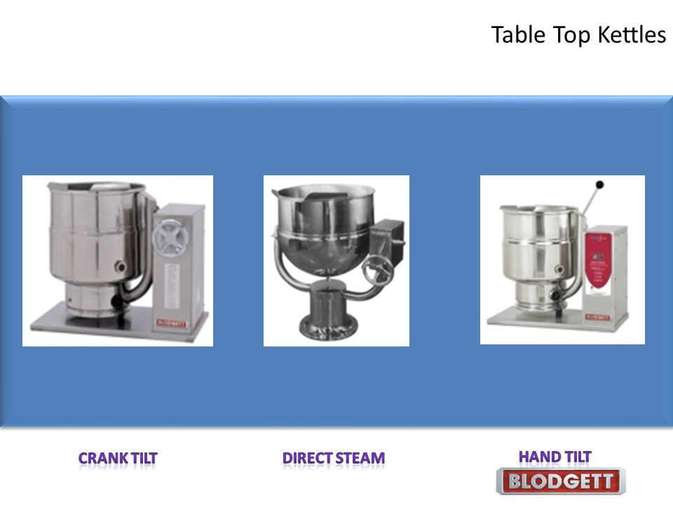 Table Top Kettles Crank Tilt Direct Steam Hand Tilt