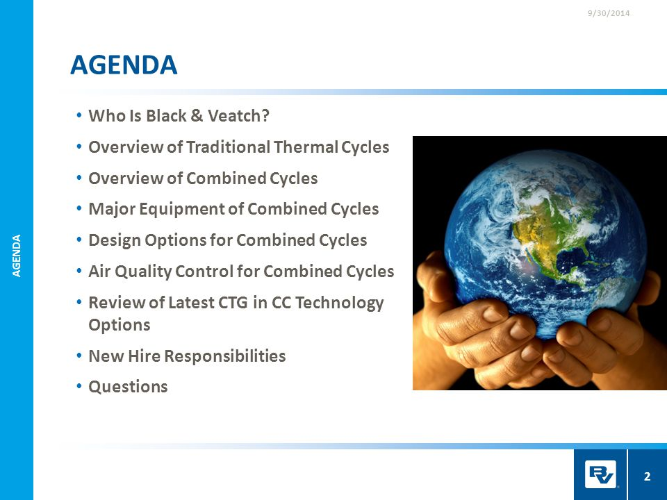 AGENDA Who Is Black & Veatch Overview of Traditional Thermal Cycles