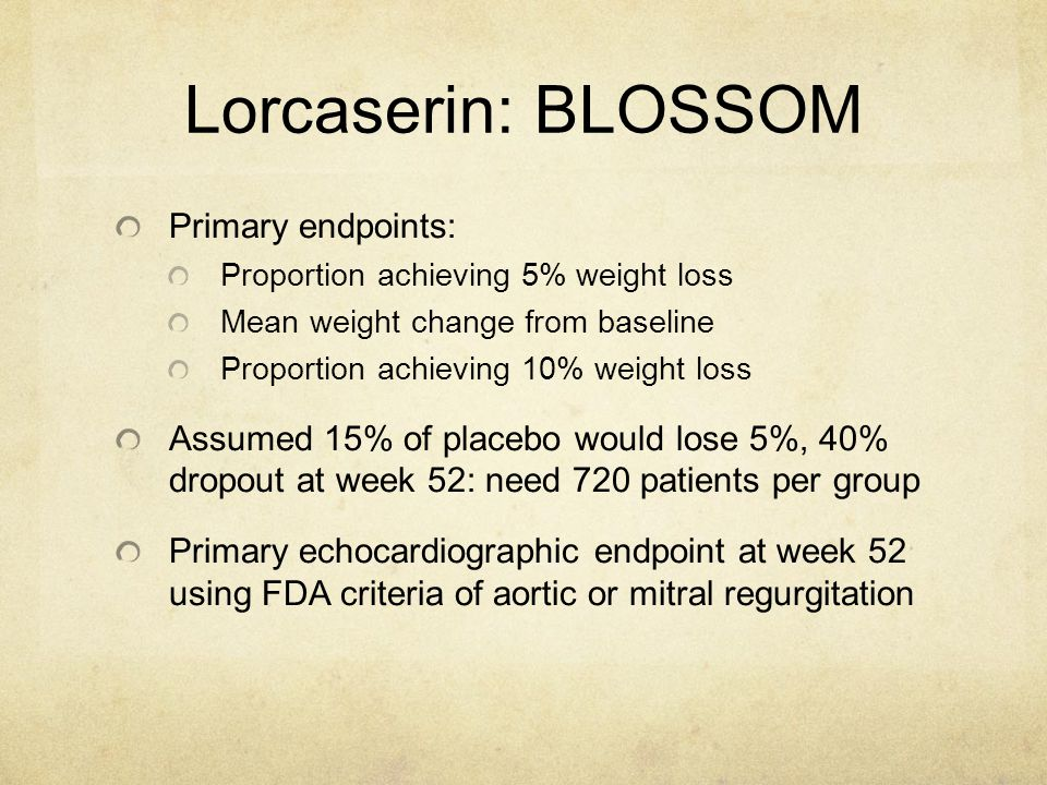 Lorcaserin: BLOSSOM Primary endpoints: