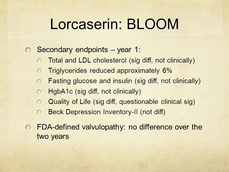 Lorcaserin: BLOOM Secondary endpoints – year 1: