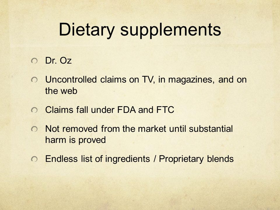 Dietary supplements Dr. Oz