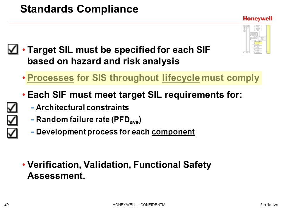 Standards Compliance Target SIL must be specified for each SIF based on hazard and risk analysis.