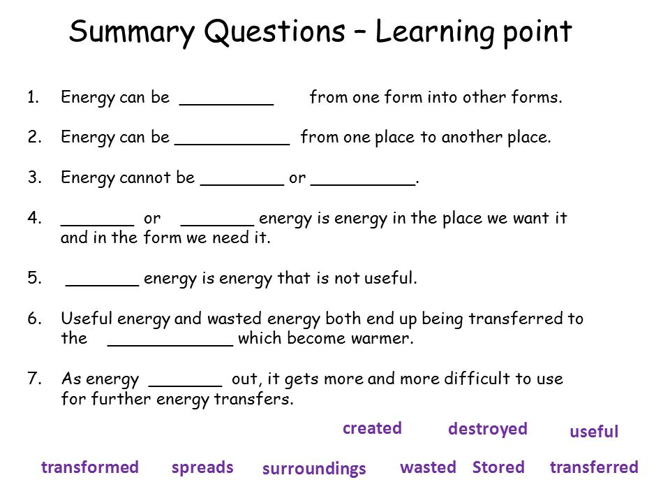 Summary Questions – Learning point