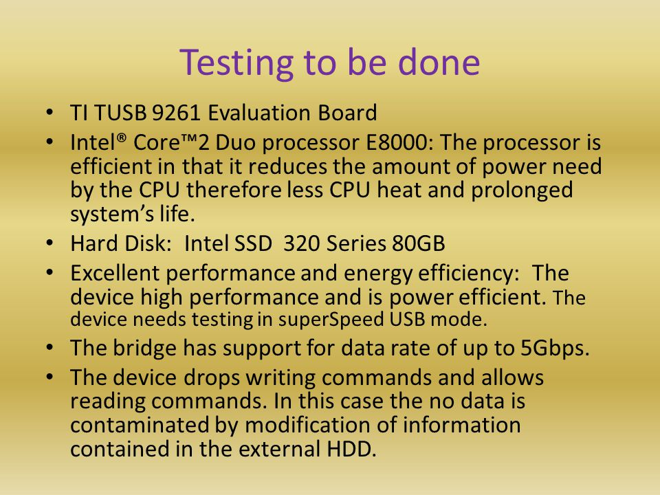 Testing to be done TI TUSB 9261 Evaluation Board