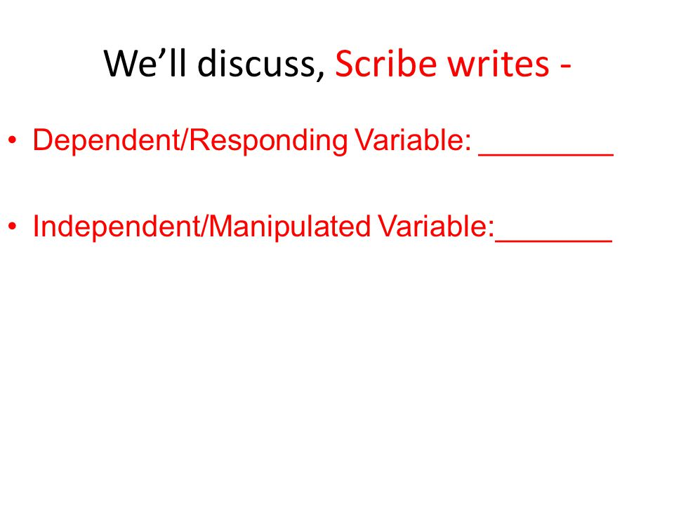 We'll discuss, Scribe writes -