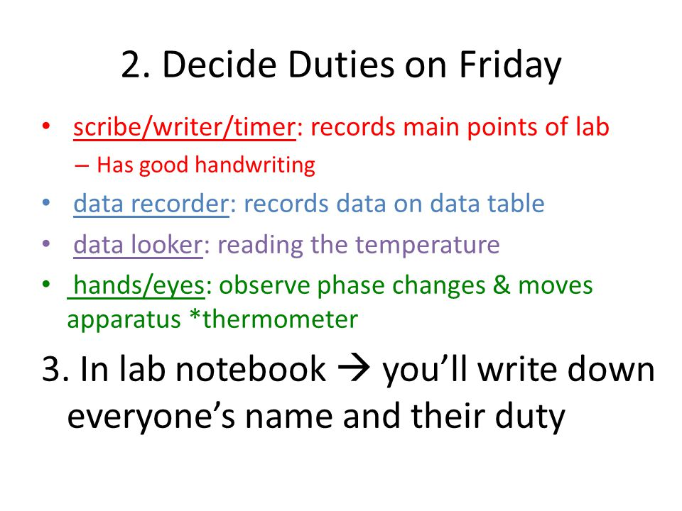 2. Decide Duties on Friday