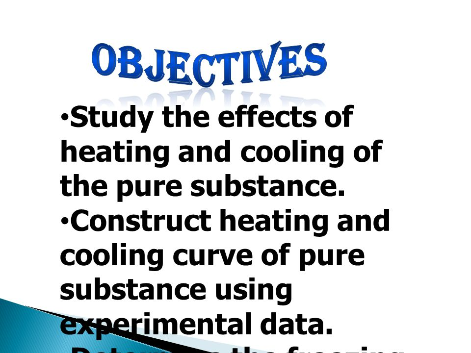 objectives Study the effects of heating and cooling of the pure substance.