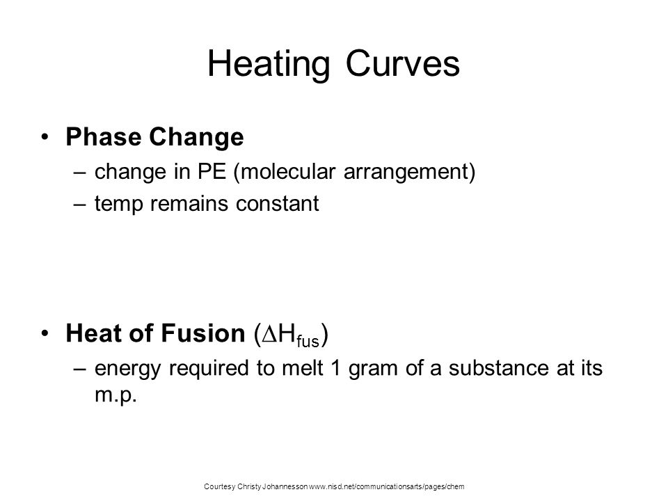 Heating Curves Phase Change Heat of Fusion (Hfus)