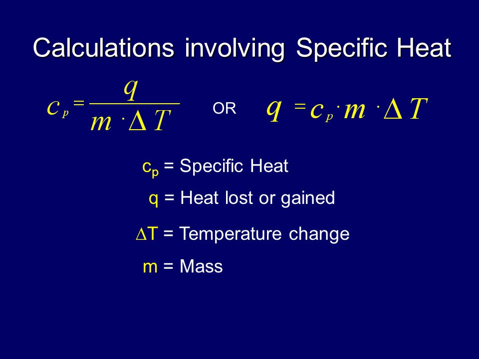 Calculations involving Specific Heat