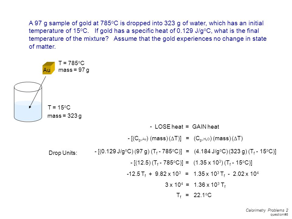 A 97 g sample of gold at 785oC is dropped into 323 g of water, which has an initial