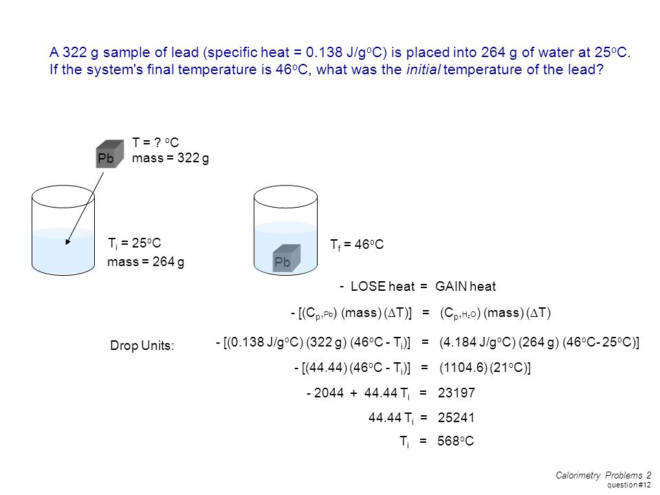 A 322 g sample of lead (specific heat = 0