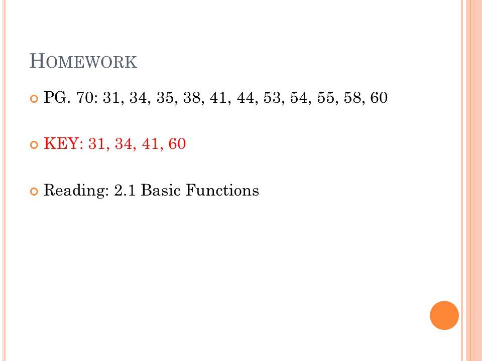 Homework PG. 70: 31, 34, 35, 38, 41, 44, 53, 54, 55, 58, 60.