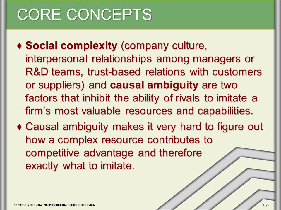 Social complexity (company culture, interpersonal relationships among managers or R&D teams, trust-based relations with customers or suppliers) and causal ambiguity are two factors that inhibit the ability of rivals to imitate a firm's most valuable resources and capabilities.