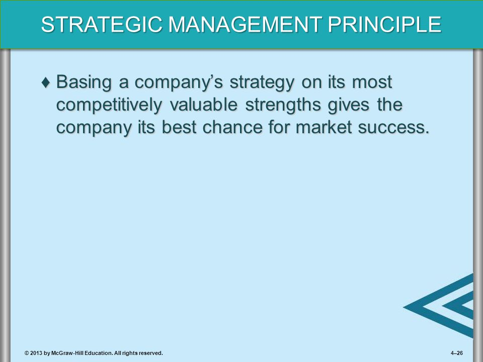 Basing a company's strategy on its most competitively valuable strengths gives the company its best chance for market success.