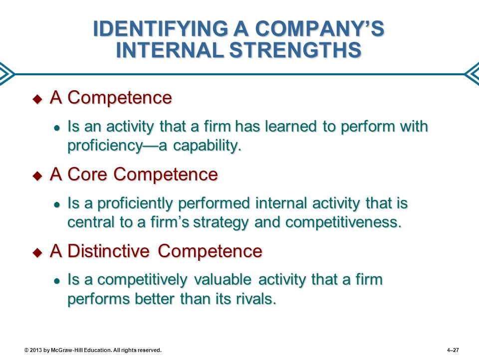 IDENTIFYING A COMPANY'S INTERNAL STRENGTHS