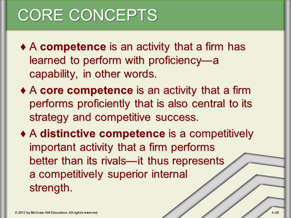 A competence is an activity that a firm has learned to perform with proficiency—a capability, in other words.