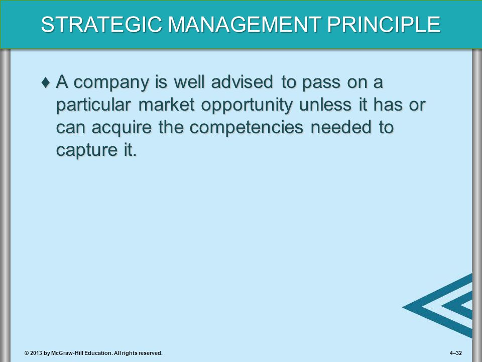 A company is well advised to pass on a particular market opportunity unless it has or can acquire the competencies needed to capture it.