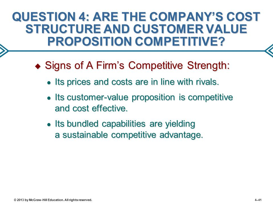 QUESTION 4: ARE THE COMPANY'S COST STRUCTURE AND CUSTOMER VALUE PROPOSITION COMPETITIVE