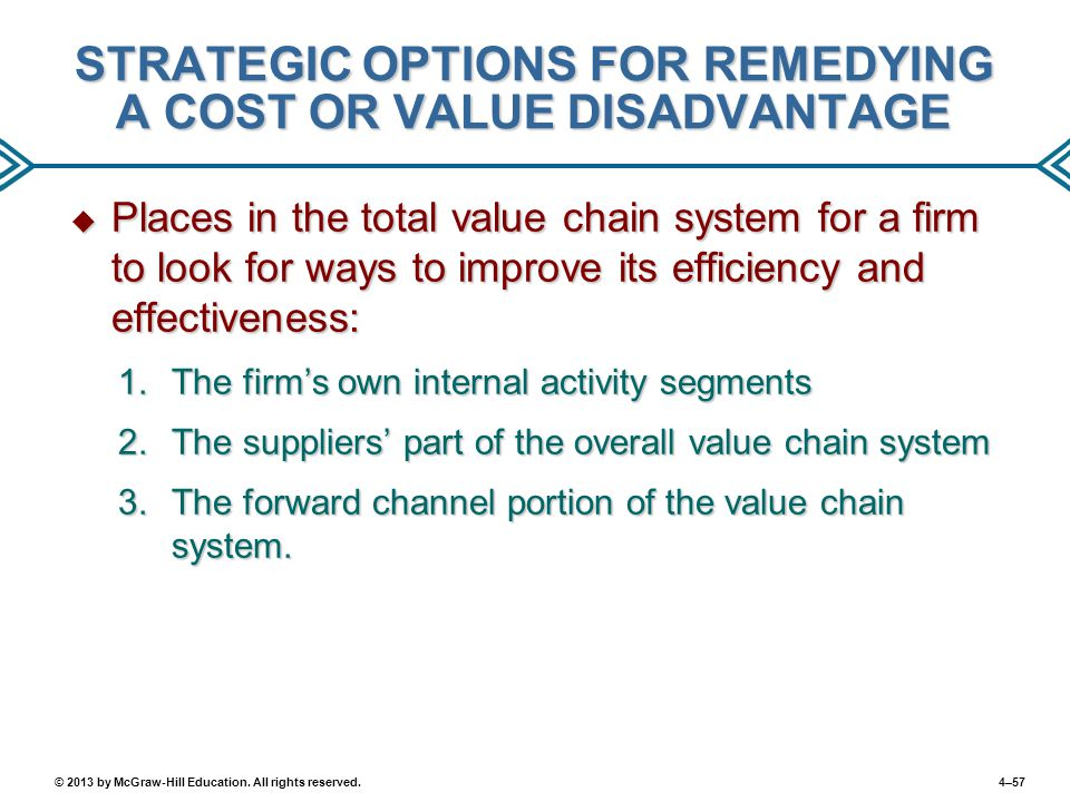 STRATEGIC OPTIONS FOR REMEDYING A COST OR VALUE DISADVANTAGE