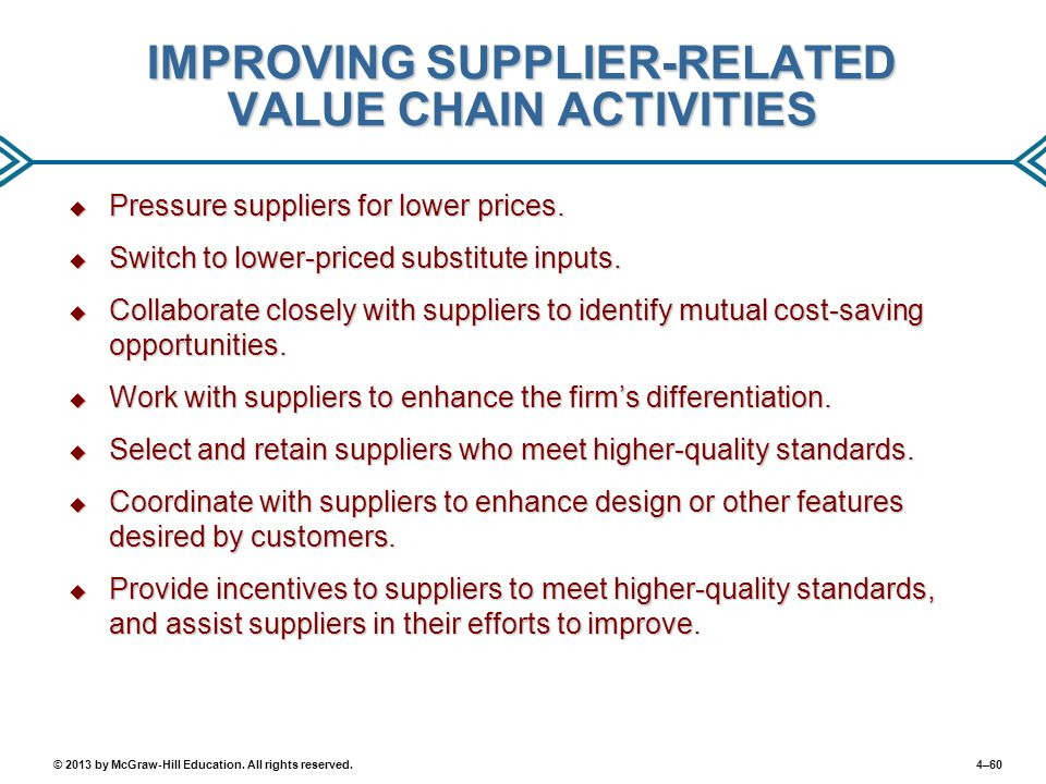 IMPROVING SUPPLIER-RELATED VALUE CHAIN ACTIVITIES