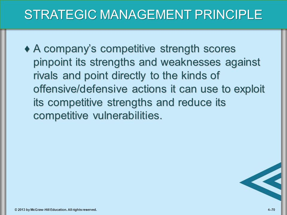 A company's competitive strength scores pinpoint its strengths and weaknesses against rivals and point directly to the kinds of offensive/defensive actions it can use to exploit its competitive strengths and reduce its competitive vulnerabilities.