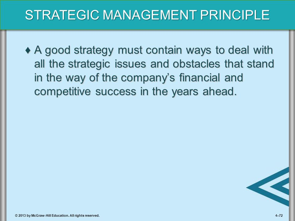 A good strategy must contain ways to deal with all the strategic issues and obstacles that stand in the way of the company's financial and competitive success in the years ahead.