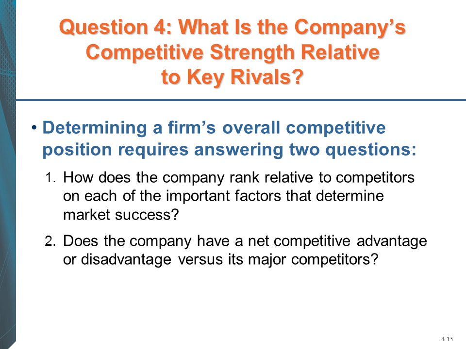 Question 4: What Is the Company's Competitive Strength Relative to Key Rivals