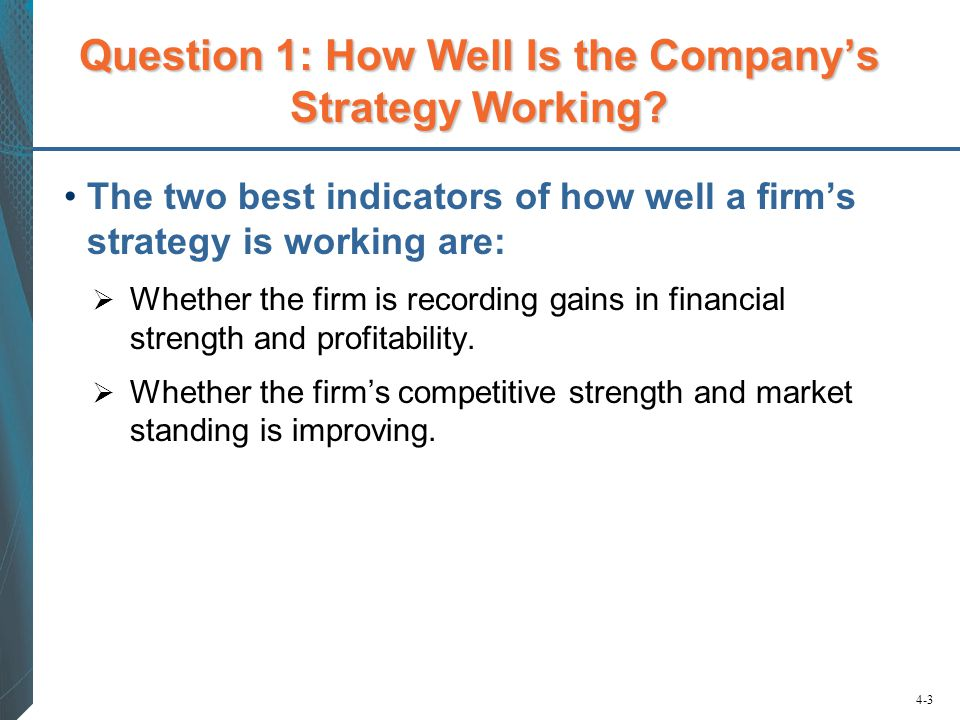 Question 1: How Well Is the Company's Strategy Working