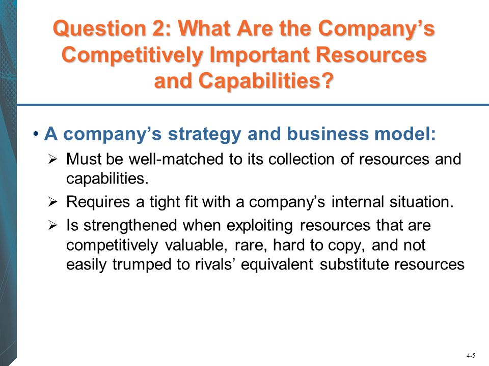 Question 2: What Are the Company's Competitively Important Resources and Capabilities