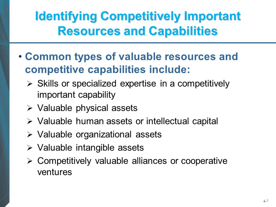Identifying Competitively Important Resources and Capabilities
