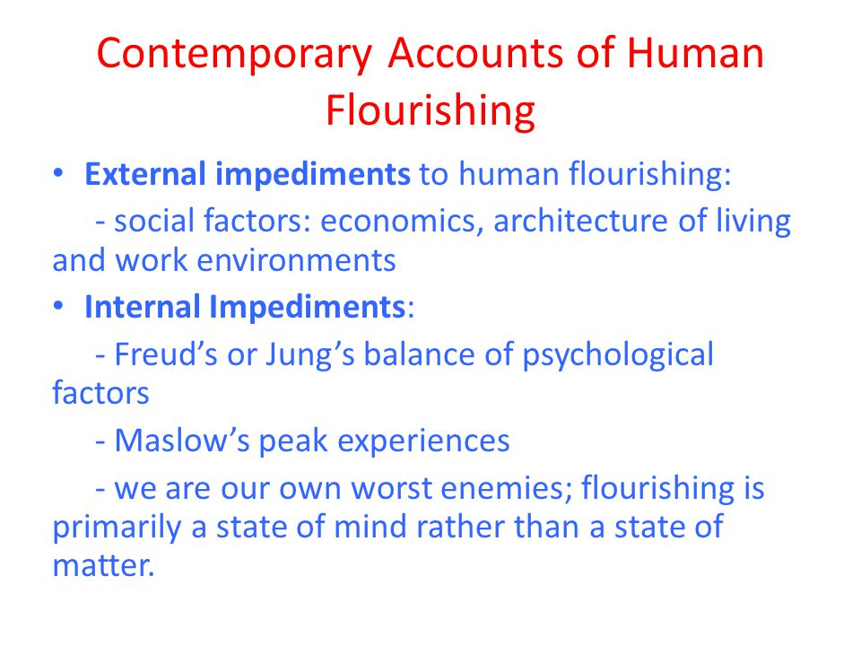 Contemporary Accounts of Human Flourishing