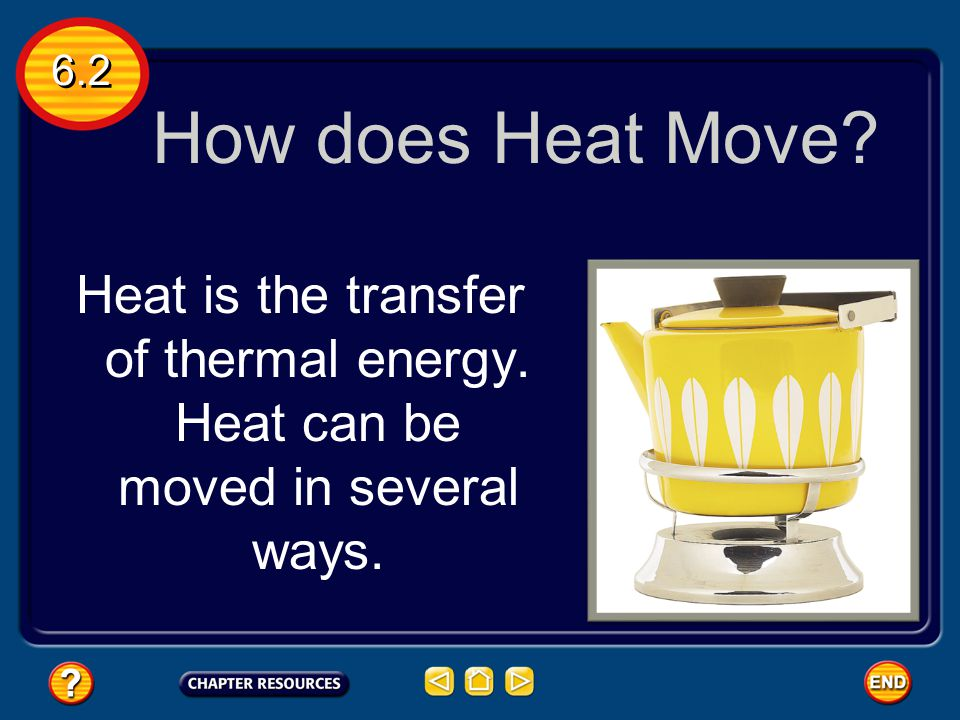 6.2 How does Heat Move Heat is the transfer of thermal energy. Heat can be moved in several ways.