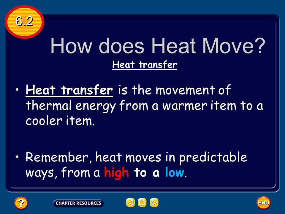6.2 How does Heat Move Heat transfer. Heat transfer is the movement of thermal energy from a warmer item to a cooler item.