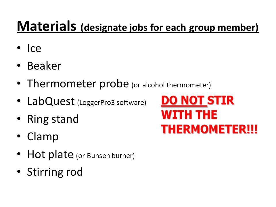 Materials (designate jobs for each group member)