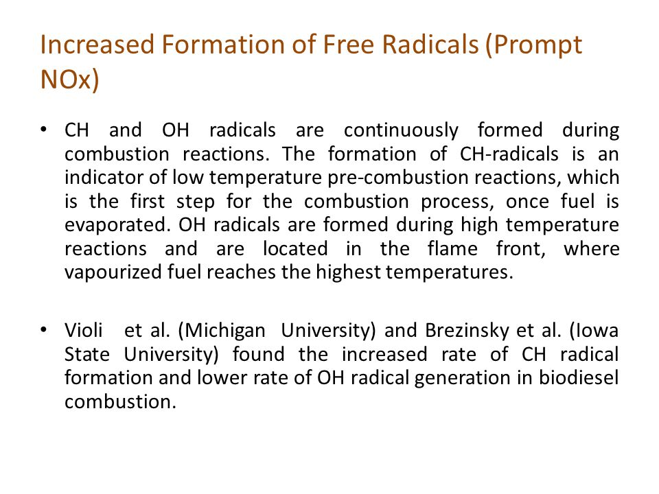Increased Formation of Free Radicals (Prompt NOx)
