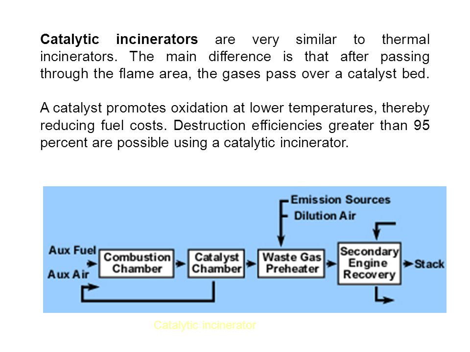Catalytic incinerators are very similar to thermal incinerators
