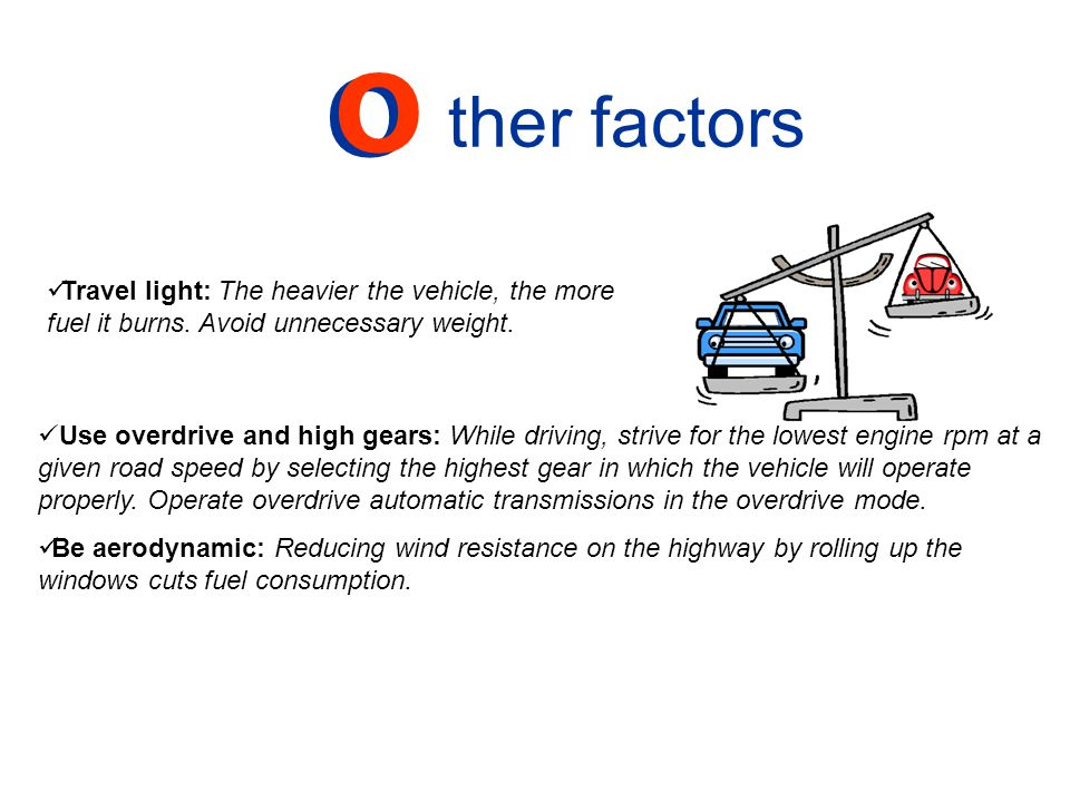 ther factors O. Travel light: The heavier the vehicle, the more fuel it burns. Avoid unnecessary weight.
