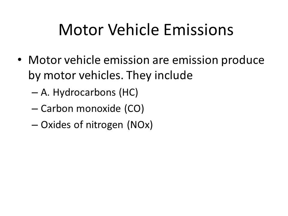 Motor Vehicle Emissions