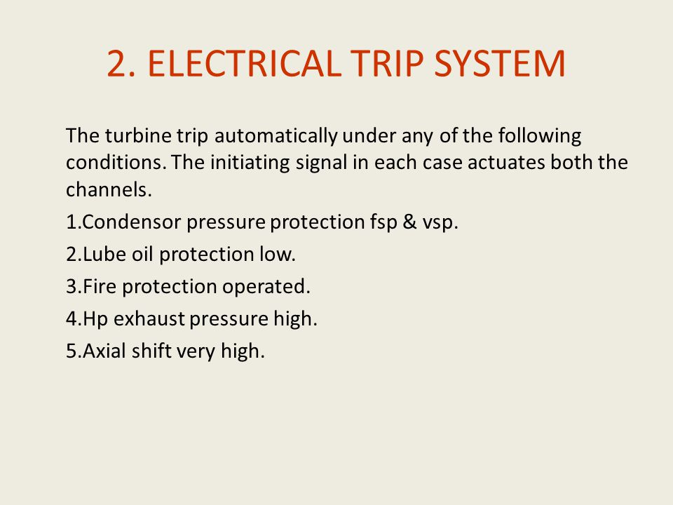 2. ELECTRICAL TRIP SYSTEM