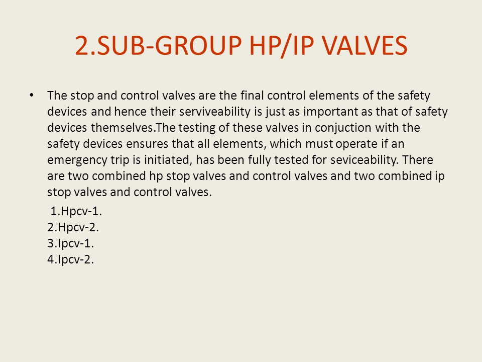 2.SUB-GROUP HP/IP VALVES