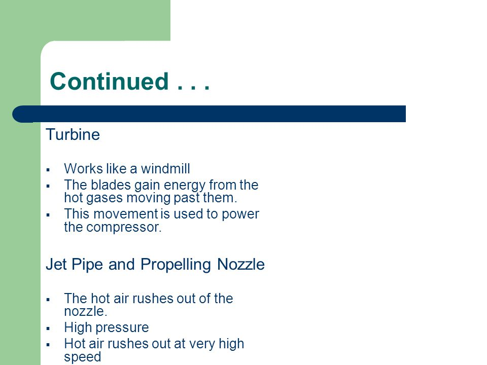 Continued . . . Turbine Jet Pipe and Propelling Nozzle