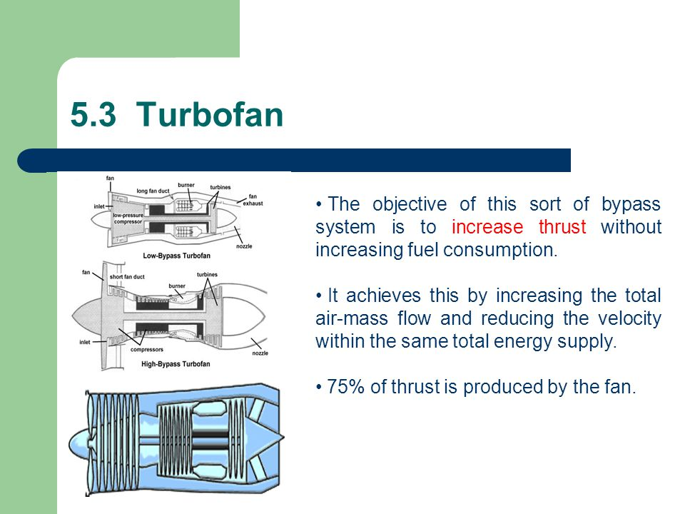 5.3 Turbofan The objective of this sort of bypass system is to increase thrust without increasing fuel consumption.