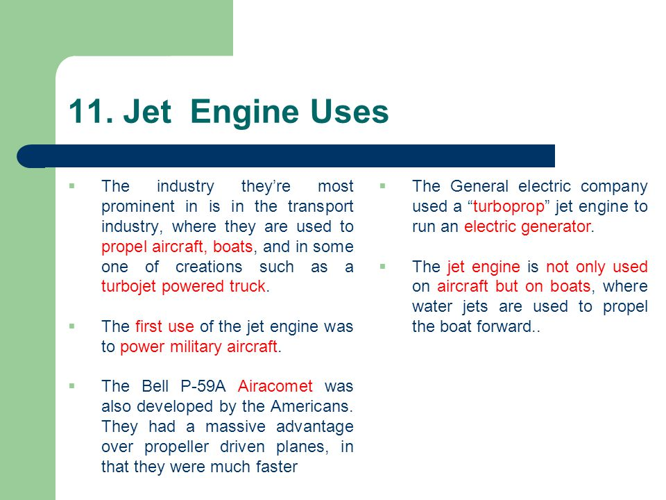 11. Jet Engine Uses