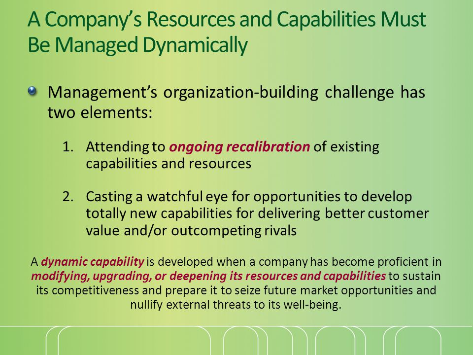 A Company's Resources and Capabilities Must Be Managed Dynamically