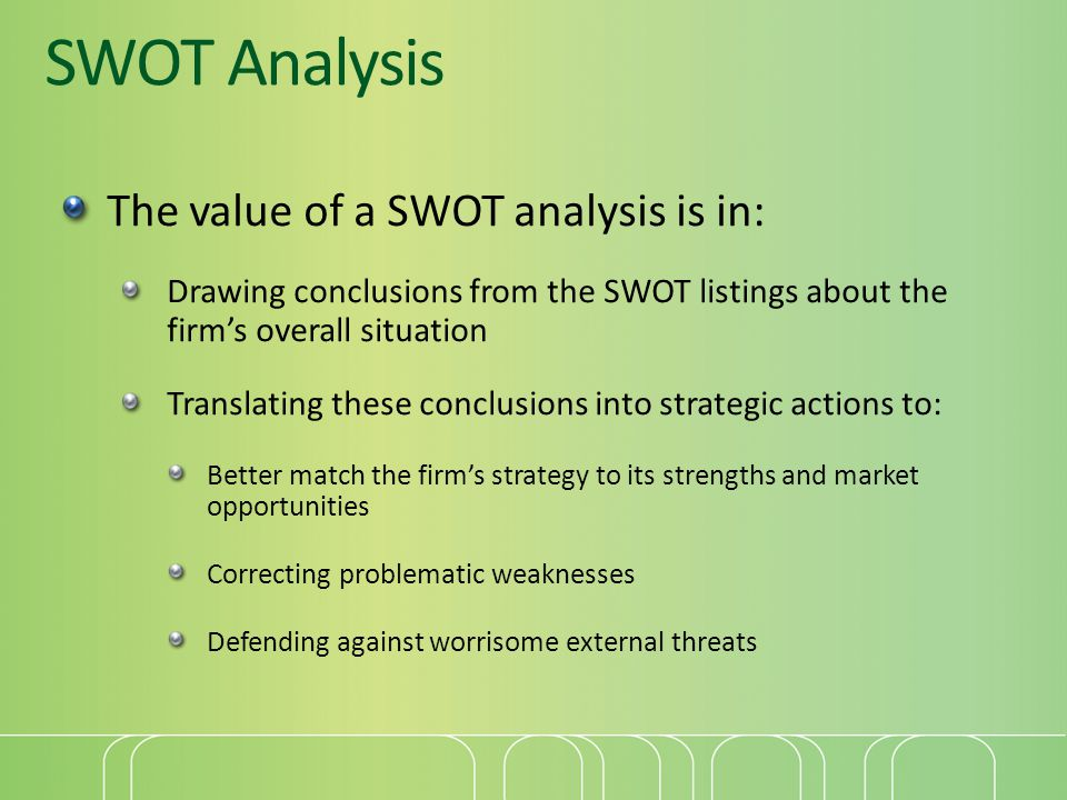 SWOT Analysis The value of a SWOT analysis is in: