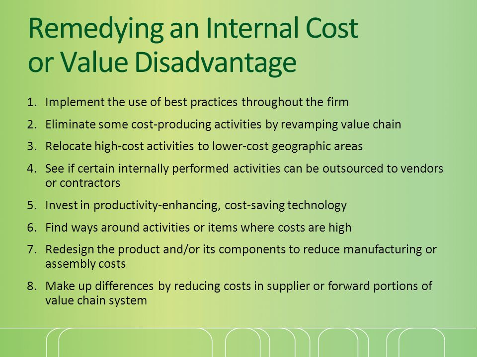 Remedying an Internal Cost or Value Disadvantage