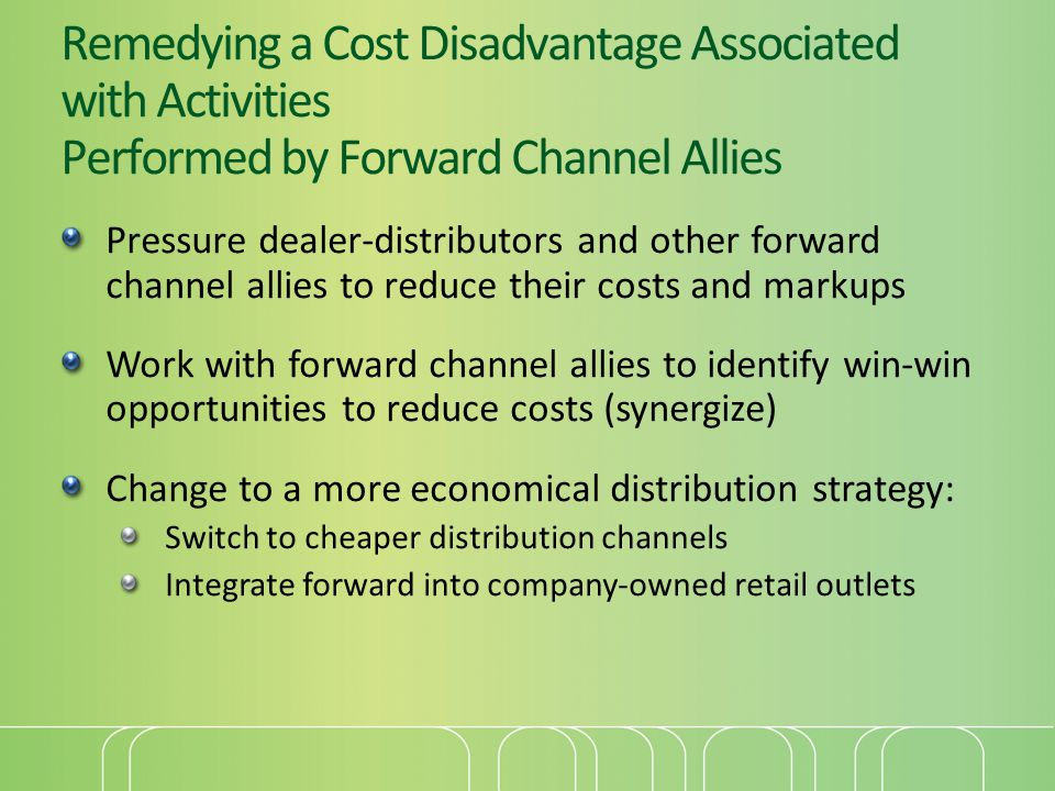 Remedying a Cost Disadvantage Associated with Activities Performed by Forward Channel Allies