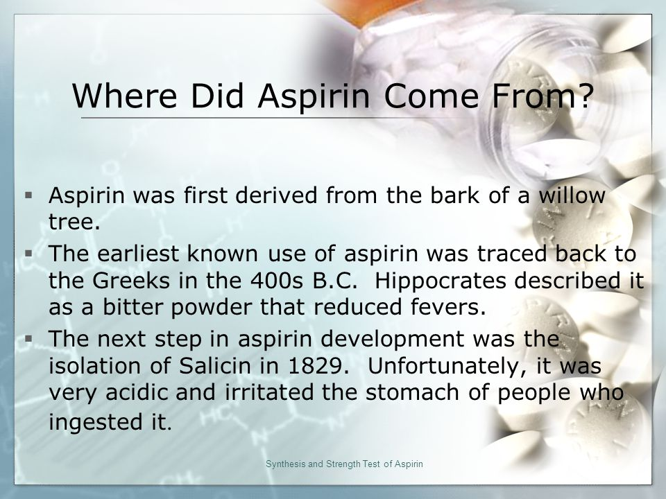 Where Did Aspirin Come From