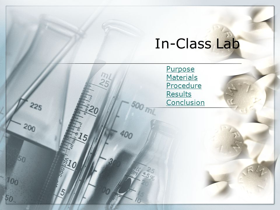 In-Class Lab Purpose Materials Procedure Results Conclusion